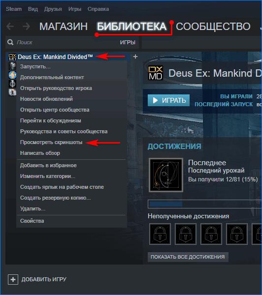 Доступ к скриншотам в Steam