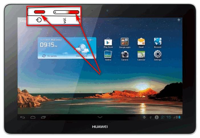 Кнопки для создания скриншота на планшете Huawei