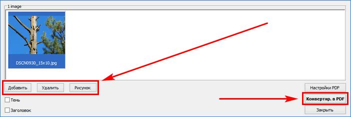 Окно преобразования в PDF в FastStone