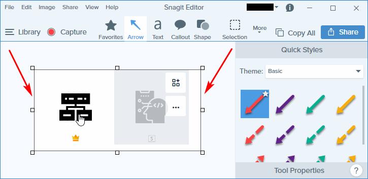 Открытый скриншот в Snagit Editor
