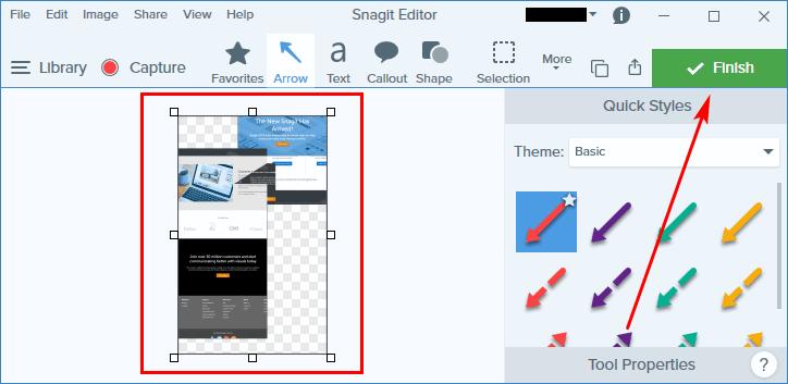 Панорамный скриншот в Snagit Editor