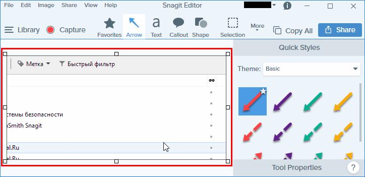 Полученный скриншот в Snagit Editor