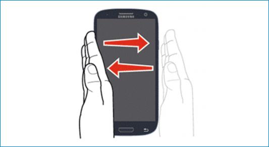 Провести ладонью по дисплею Samsung
