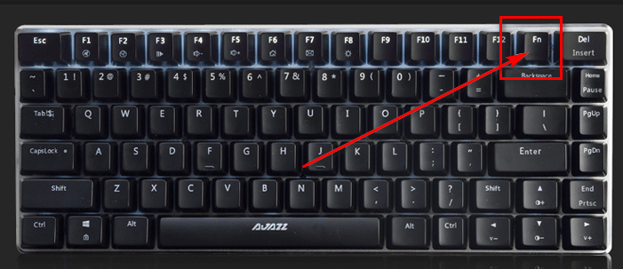 Расположение клавиши Fn