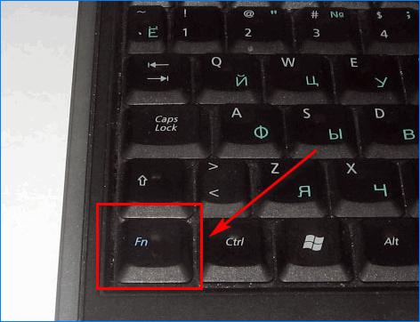 Расположение кнопки Fn