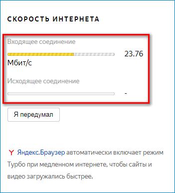 Скорость сети Yandex