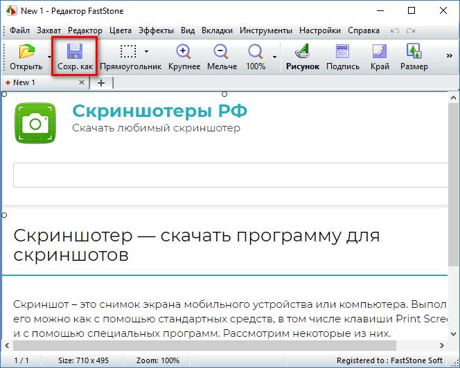 Сохранение скриншота в FastStone Capture