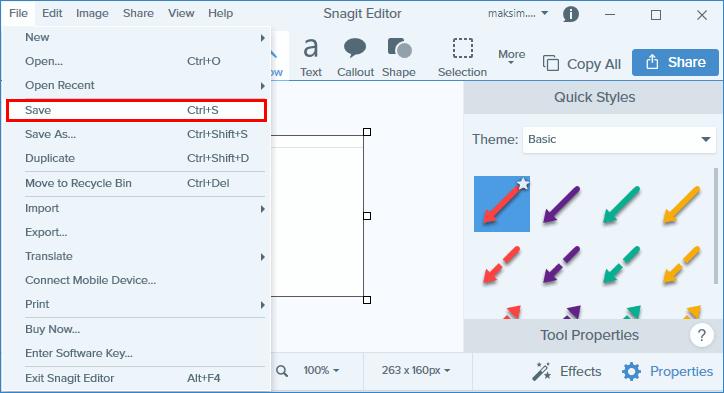 Сохранение скриншота в Snagit