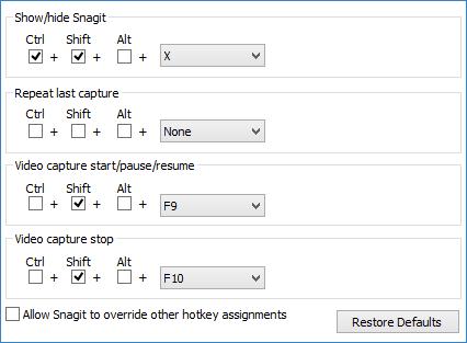 Вкладка Горячие клавиши настроек Snagit