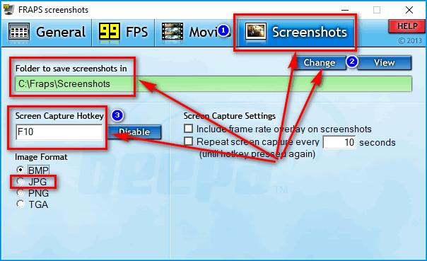 Вкладка «Screenshots» в Flaps