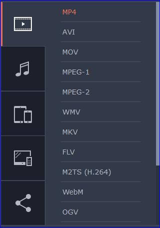Выбрать формат видео в Movavi