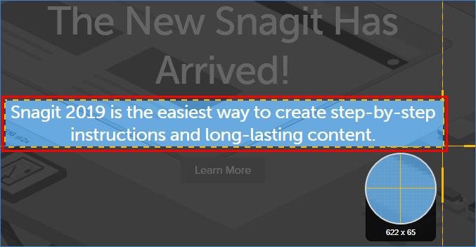 Выделение текста на экране в Snagit